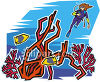 Woman Scuba Diving on a Coral Reef clipart