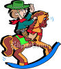 Little Boy Playing Cowboy on a Wooden Rocking Horse clipart