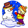 Little Boy Building a Snowman clipart