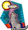 Lone Wolf Howling at the Moon clipart