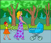 Woman Pushing a Baby Carriage Clip Art clipart