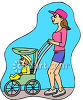 Mother Pushing  a Strolle ror Baby Carriage Clip Art clipart