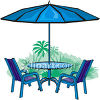 Patio Set of Table and Chairs with an Umbrella clipart
