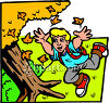 Young Schoolboy Running Through Fall Leaves clipart