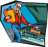 Woman Taking Groceries From Her Trunk clipart