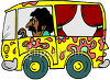 Man Driving a Hippie Bus with Curtains and Psychedelic Paint Job clipart