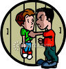 Big Kid Picking on a Little Kid - Bully Clipart clipart