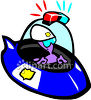 Space Man Officer in a Flying Saucer Clipart clipart