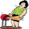 Woman Using an Old Fashioned Fat Jiggler Fitness Device clipart