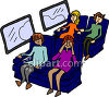 Scared Woman on a Plane with Other Passengers clipart