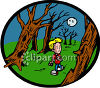 Scared Boy Walking Through a Dark Forest  clipart