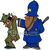 Copper Holding a Mobster By the Back of His Jacket clipart