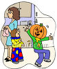 Kids Getting Ready to Go Trick Or Treat clipart