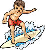 Young Boy Surfing clipart