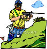 Guy Shooting a Paintball Gun clipart