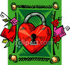 Lock in the Shape of a Heart Clip Art clipart