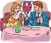 Family Dining in a Fancy Restaurant clipart