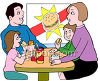 Family Eating Burgers in a Fast Food Place clipart