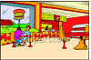 Fast Food Restaurant Dining Area clipart