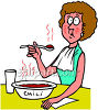 Woman Eating Extremely Hot and Spicy Chili clipart