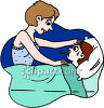 Mom Comforting a Sick Child Clip Art clipart