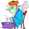 Monster with a Cold, Soaking His Feet Clip Art clipart