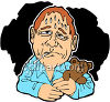 Sweating Man With a Fever Clip Art clipart