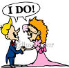 "Bride and Groom Saying ""I Do"" clipart"