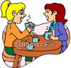 Housewives Spreading Gossip, Having Coffee Clip Art clipart