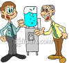 Two Men Gossiping Around the Water Cooler Clip Art clipart