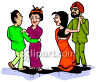 Racially Different Couples Dancing Clip Art clipart