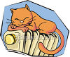 Kitten Sleeping on a Radiator clipart