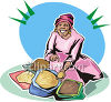 Woman Selling Spices  clipart
