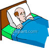 Man in Bed with a Thermometer in His Mouth clipart