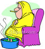 Woman with a Bad Flu, Her Feet in a Bucket of Hot Water clipart