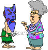 Old Lady on Vacation in Hawaii, Talking to a Native Holding a Spear clipart