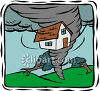 House Being Lifted by a Tornado clipart
