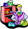 Man Selling Purses and Bags clipart