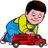 Toddler Boy Playing With Firetruck clipart