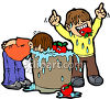 Boys Bobbing For Apples clipart