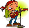 Man Singing And Playing Acoustic Guitar  clipart
