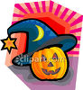 Jack O Lantern Wearing A Witch Hat clipart
