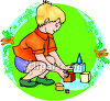 Young Boy Playing With Colorful Building Blocks clipart