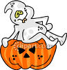 A Ghost Sitting On Top Of A Jack O Lantern clipart