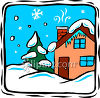 A House Covered In Snow clipart