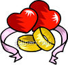 A Pair Of Wedding Bands In Front Of Hearts clipart
