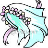 A Bridal Veil With A Flowered Headpiece clipart