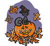 Witch Cat Standing On Jack O Lantern clipart