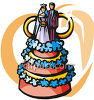 Wedding Cake Decorated With Flowers clipart