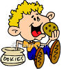 Boy Eating Cookies Out Of A Cookie Jar clipart